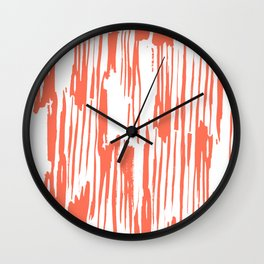 Bamboo Stripes White on Deep Coral Wall Clock