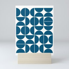 Mid Century Modern Geometric 04 Blue Mini Art Print