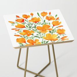 Watercolor California poppies Side Table