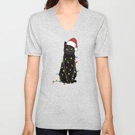 Christmas Black Cat Unisex V-Neck