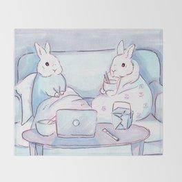 Binge-watching Bunnies Throw Blanket