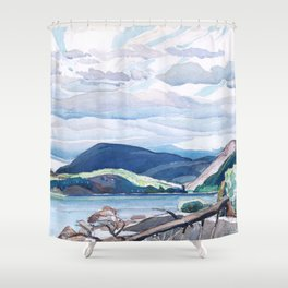 Franklin Carmichael - Lake and Hills - Canada, Canadian Watercolor Painting - Group of Seven Shower Curtain