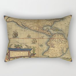 Antique Map of North and South America 1570 Rectangular Pillow