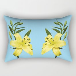 Yellow Lily on Sky Blue Background Illustrated Print Rectangular Pillow