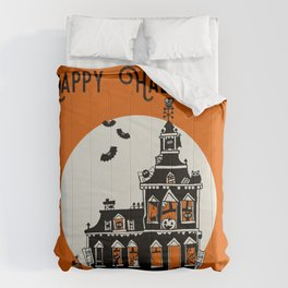 Vintage Style Haunted House - Happy Halloween Comforters