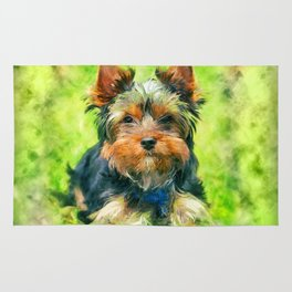 Watercolor art Yorkshire Terrier Rug