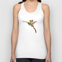 finland Tank Tops featuring Tree Frog Playing Acoustic Guitar with Flag of Finland by Jeff Bartels