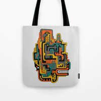 foo fighters Tote Bags featuring Foo Dog by dAM 11