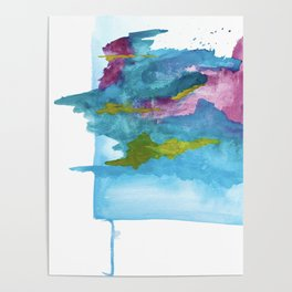 Salt Water Dreams: a vibrant abstract watercolor piece in blue, pink and yellow Poster