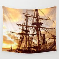pirate ship Wall Tapestries featuring PIRATE SHIP :) by Teresa Chipperfield Studios