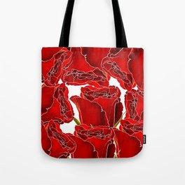 Elegant red white watercolor romantic roses floral Tote Bag