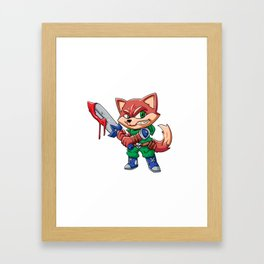 Warrior fox  cartoon illustration Framed Art Print
