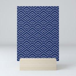 Sashiko Seamless Indigo Dye Pattern With Traditional  Japanese Mini Art Print