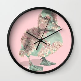 Cherry Blossom Baby Duck Wall Clock