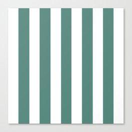 Wintergreen Dream blue - solid color - white vertical lines pattern Canvas Print