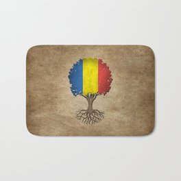 Vintage Tree of Life with Flag of Romania Bath Mat