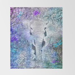 ELEPHANT IN THE STARRY LAKE Throw Blanket