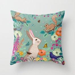 Hare, Squirrel & Blackbird Throw Pillow