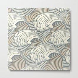 Ocean Waves Pattern Ancient Japan Art Metal Print