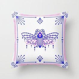 Death's Head Hawkmoth – Indigo & Pink Palette Throw Pillow