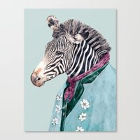 zebra Canvas Prints featuring Zebra by Animal Crew