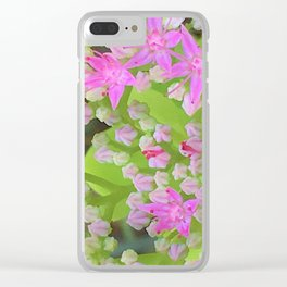 Hot Pink Succulent Sedum with Fleshy Green Leaves Clear iPhone Case