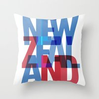 new zealand Throw Pillows featuring New Zealand by Feb Studios