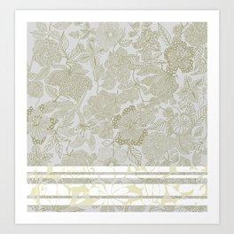 Ornate Floral Taupe Art Print