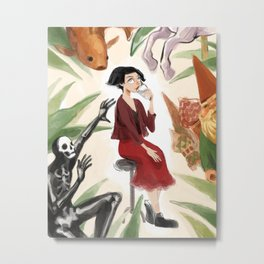 The Girl with the Glass Metal Print