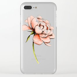 Coral Pink Peony Clear iPhone Case