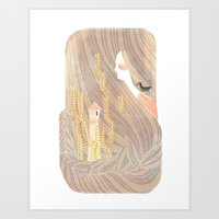 rapunzel Art Prints featuring Rapunzel by Wenjia Tang