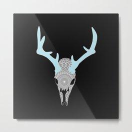 Mandala Deer Skull Metal Print