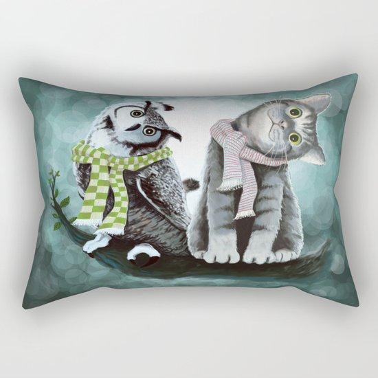 Cat and Owl Rectangular Pillow