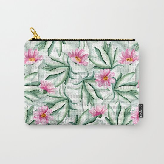 Tropical leaves and flowers Carry-All Pouch