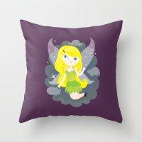 fairy Throw Pillows featuring Fairy by Maria Jose Da Luz