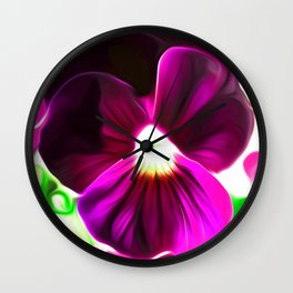 Painted Pansy - Red Wall Clock