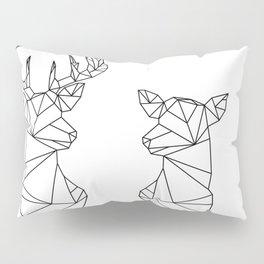 Geometric Stag and Doe (Black on White) Pillow Sham