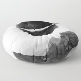 Black and White Isolation Island Floor Pillow