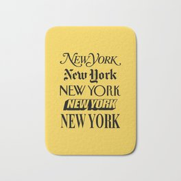New York City Yellow Taxi and Black Typography Poster NYC Bath Mat