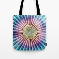 tie dye Tote Bags featuring Textured Mandala Tie Dye by Phil Perkins