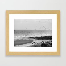 Beach, Calais, France. Framed Art Print