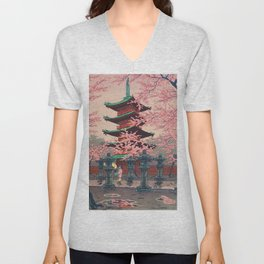 Eight Views of Tokyo - Toshogu Shrine Kasamatsu Shiro Japanese Woodblock Painting Asian Beautiful Unisex V-Neck