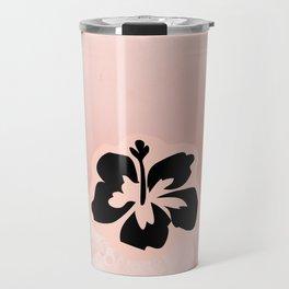 Black flower on pink background Travel Mug