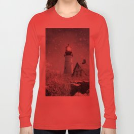 New England Winter Lighthouse Long Sleeve T-shirt