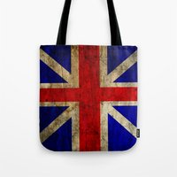 british flag Tote Bags featuring British Flag by Jason Michael