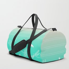 Dragonfly, Pink and Green Blush Duffle Bag