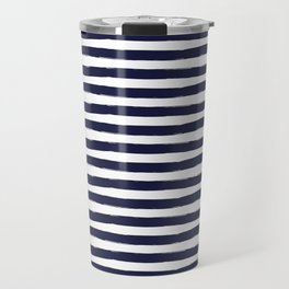 Navy Blue and White Horizontal Stripes Travel Mug