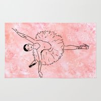 ballet Area & Throw Rugs featuring Ballet  (Ballet dancer in arabesque wearing a tutu) by Janin Wise