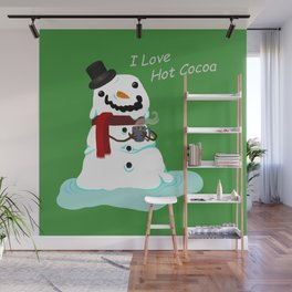 Snowman who Loves Hot Cocoa Wall Mural