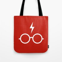 harry potter Tote Bags featuring Harry Potter Minimal by cat&wolf